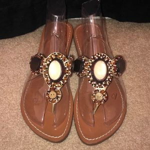 BCBG sandals with beaded detailing!!